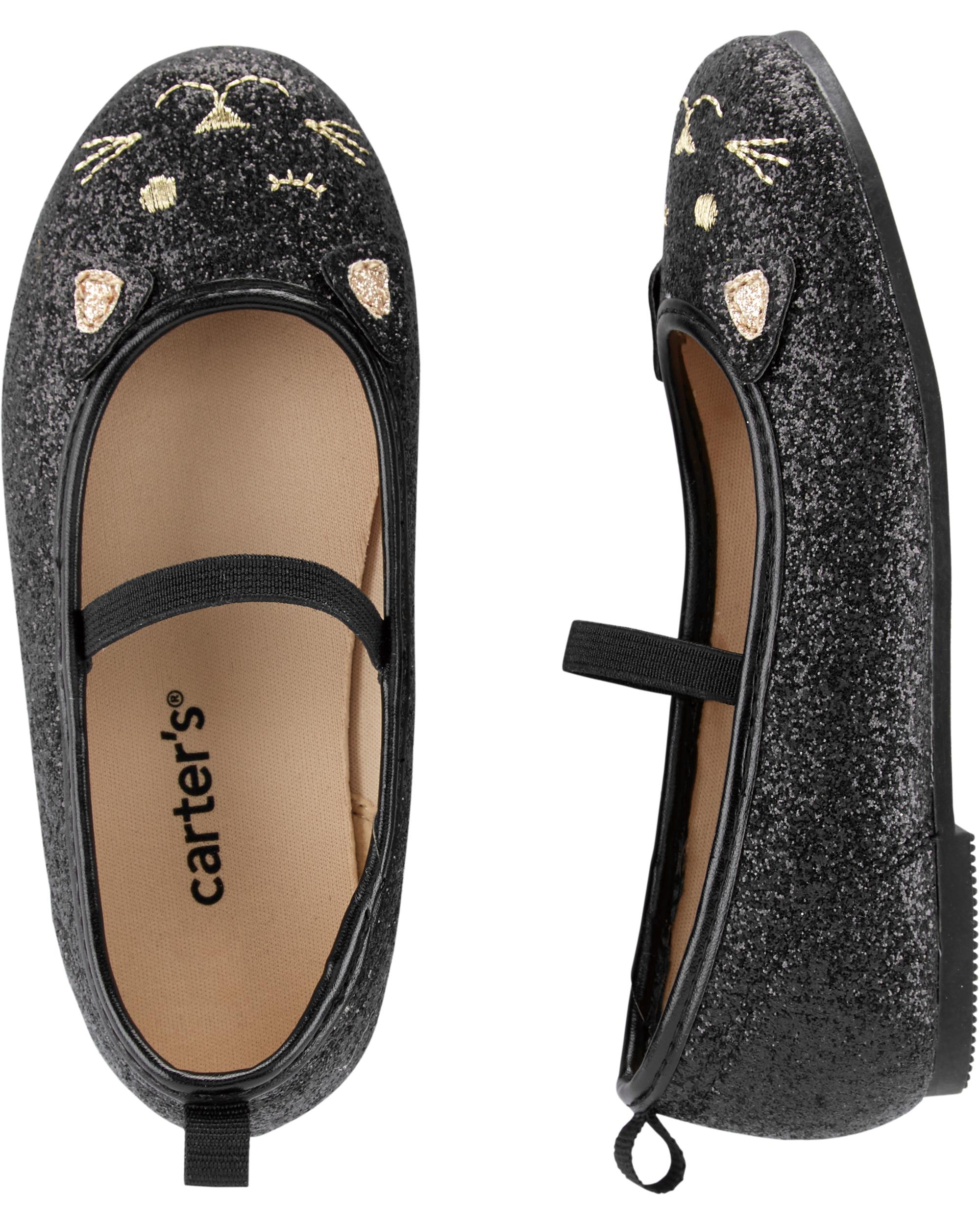 נעלי בובה שחורות חתולה