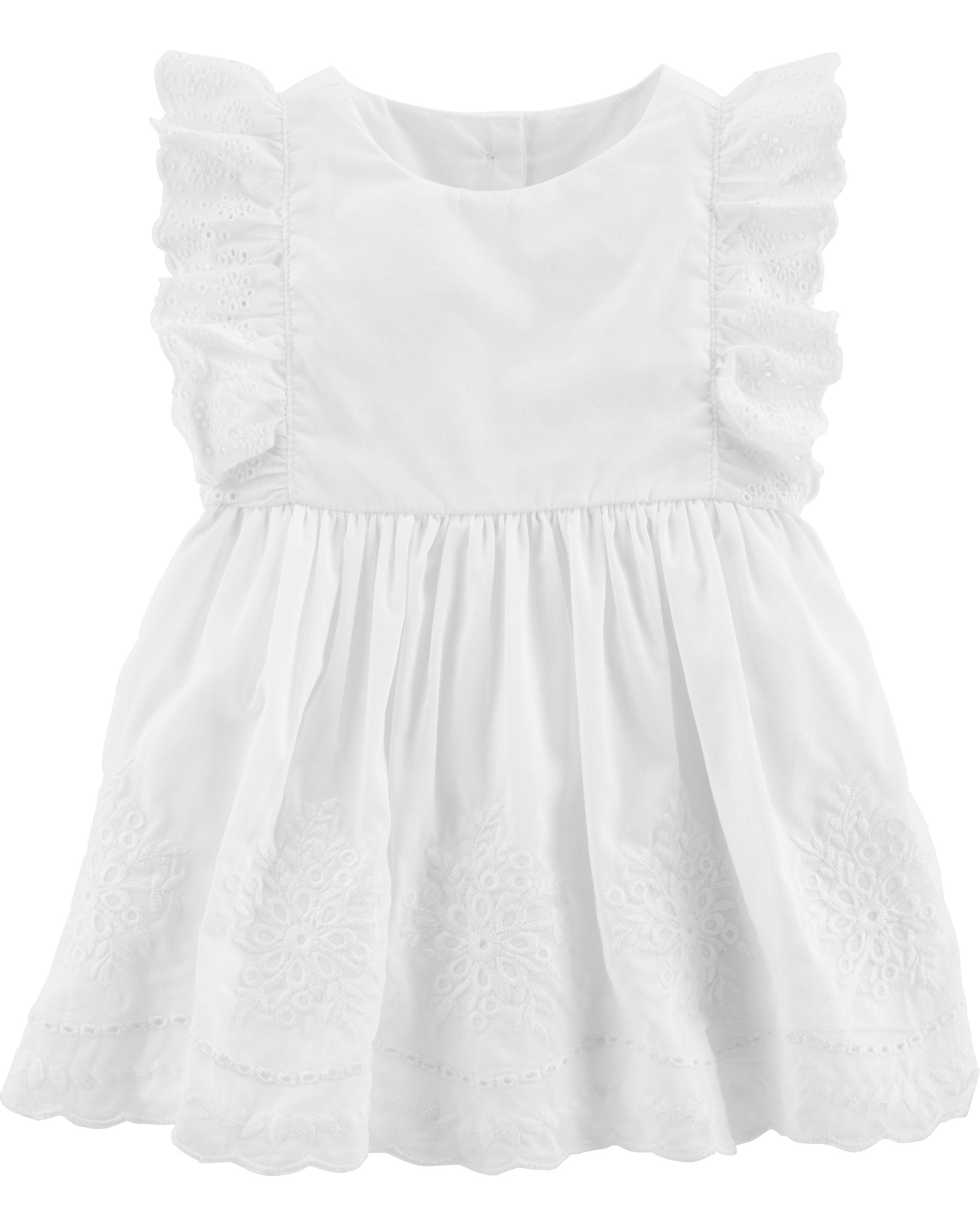 שמלת אריג לבנה תחרה
