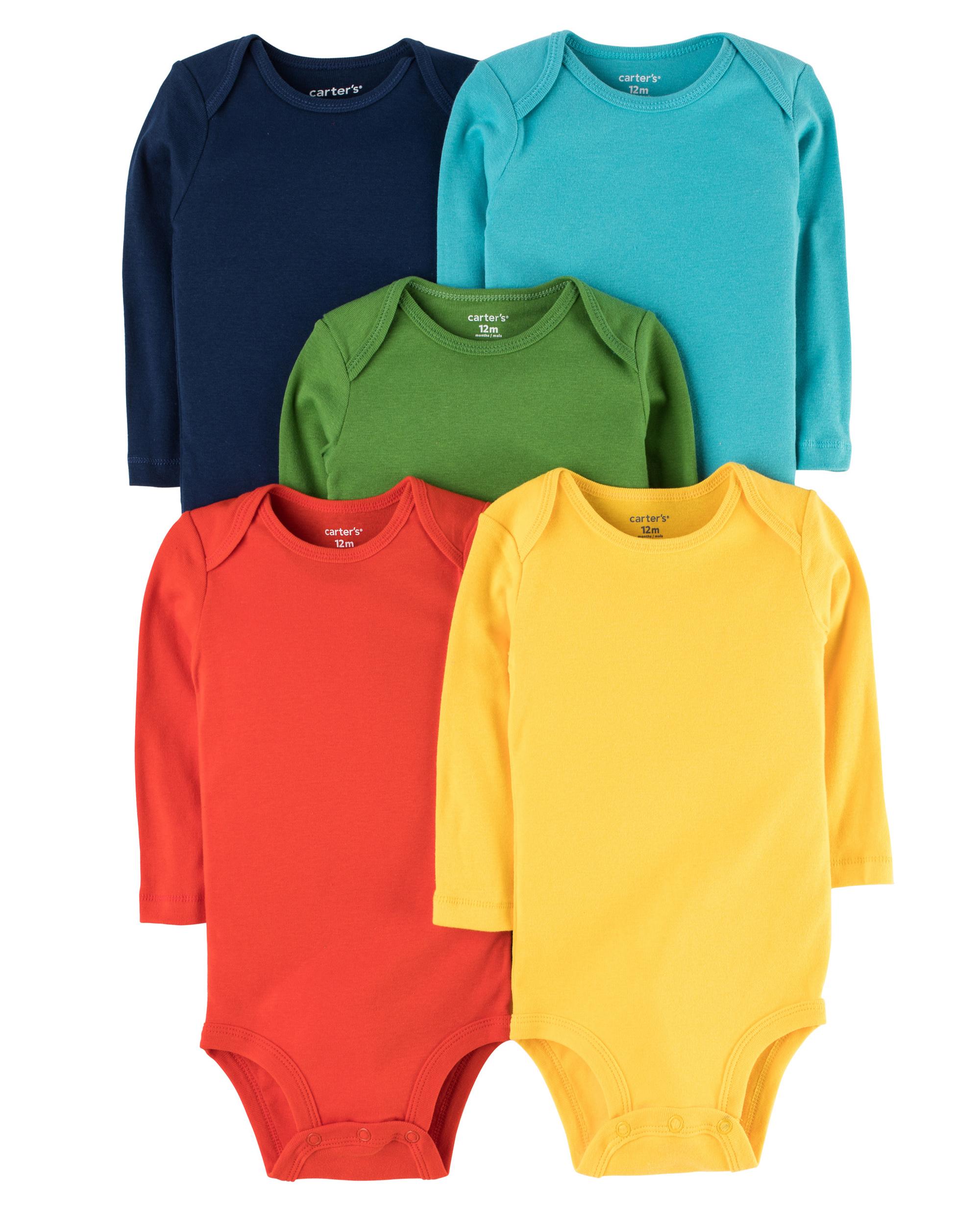 5 בגדי גוף צבעוני חלק