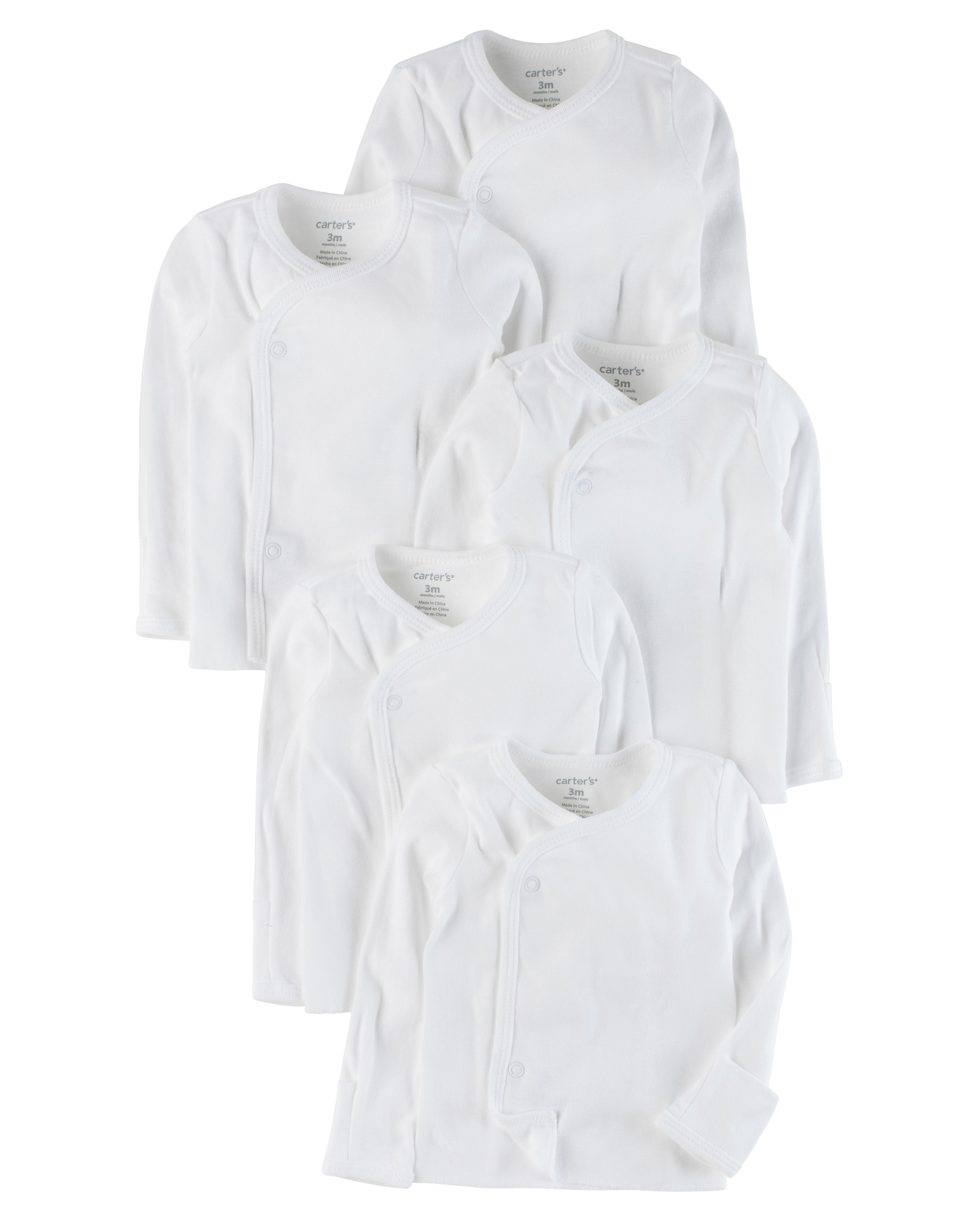 חמישיית חולצות מעטפת לבן