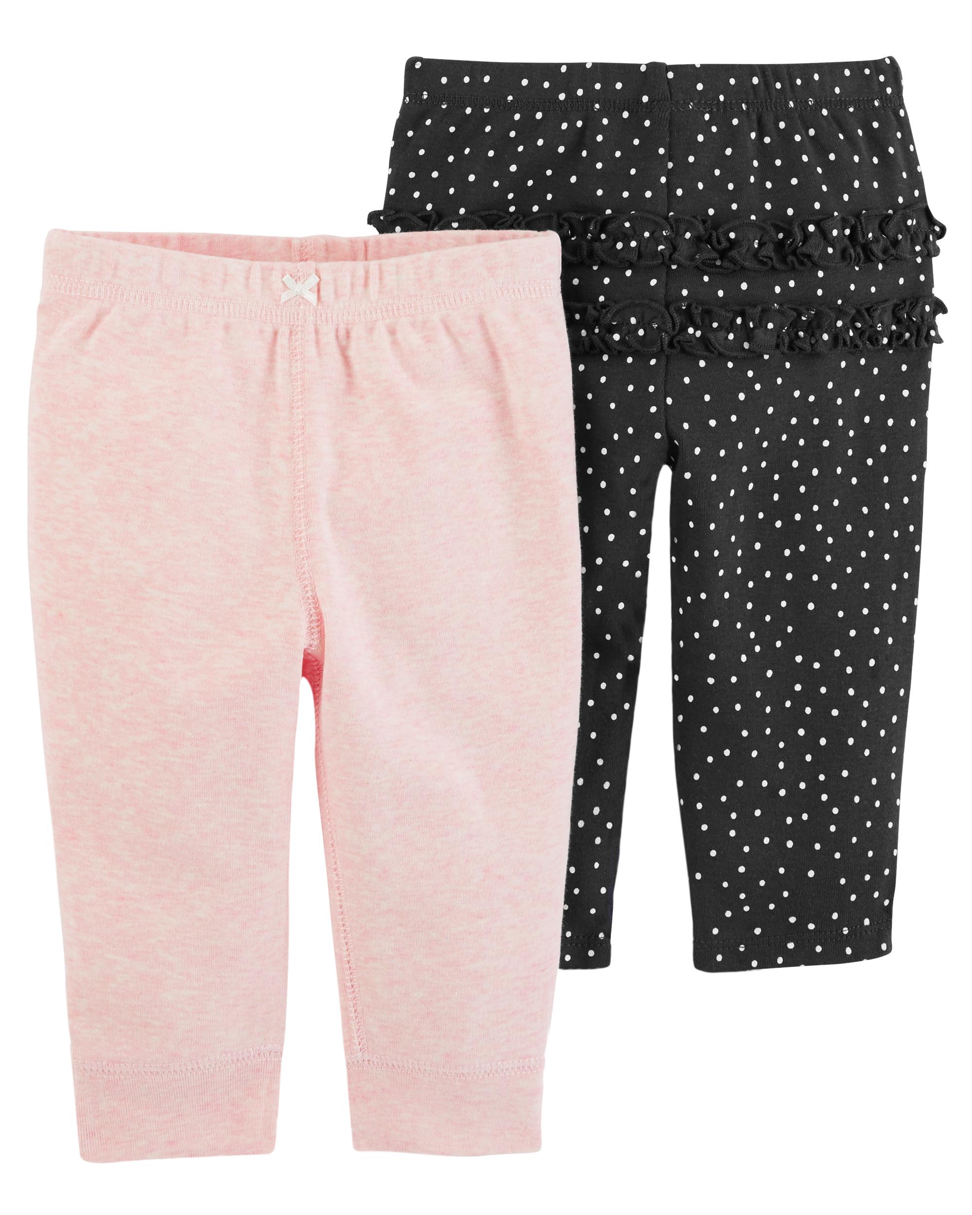 זוג מכנסיים מנוקד/ורוד