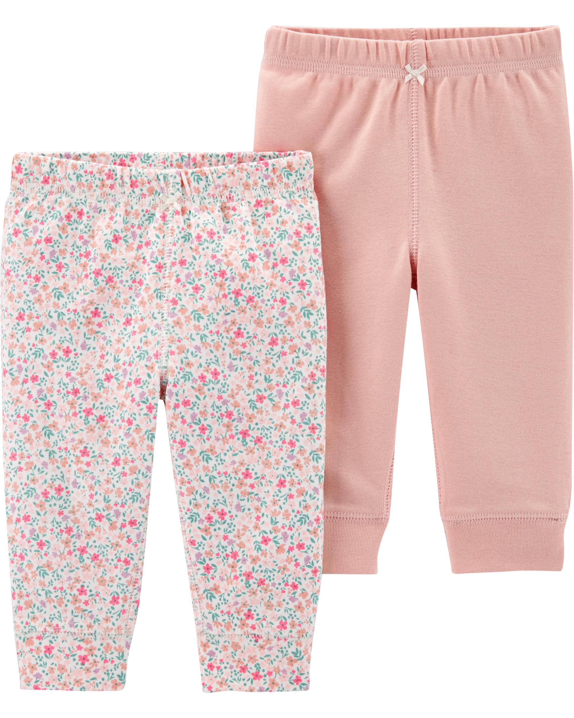 זוג מכנסיים ורוד/פרחוני