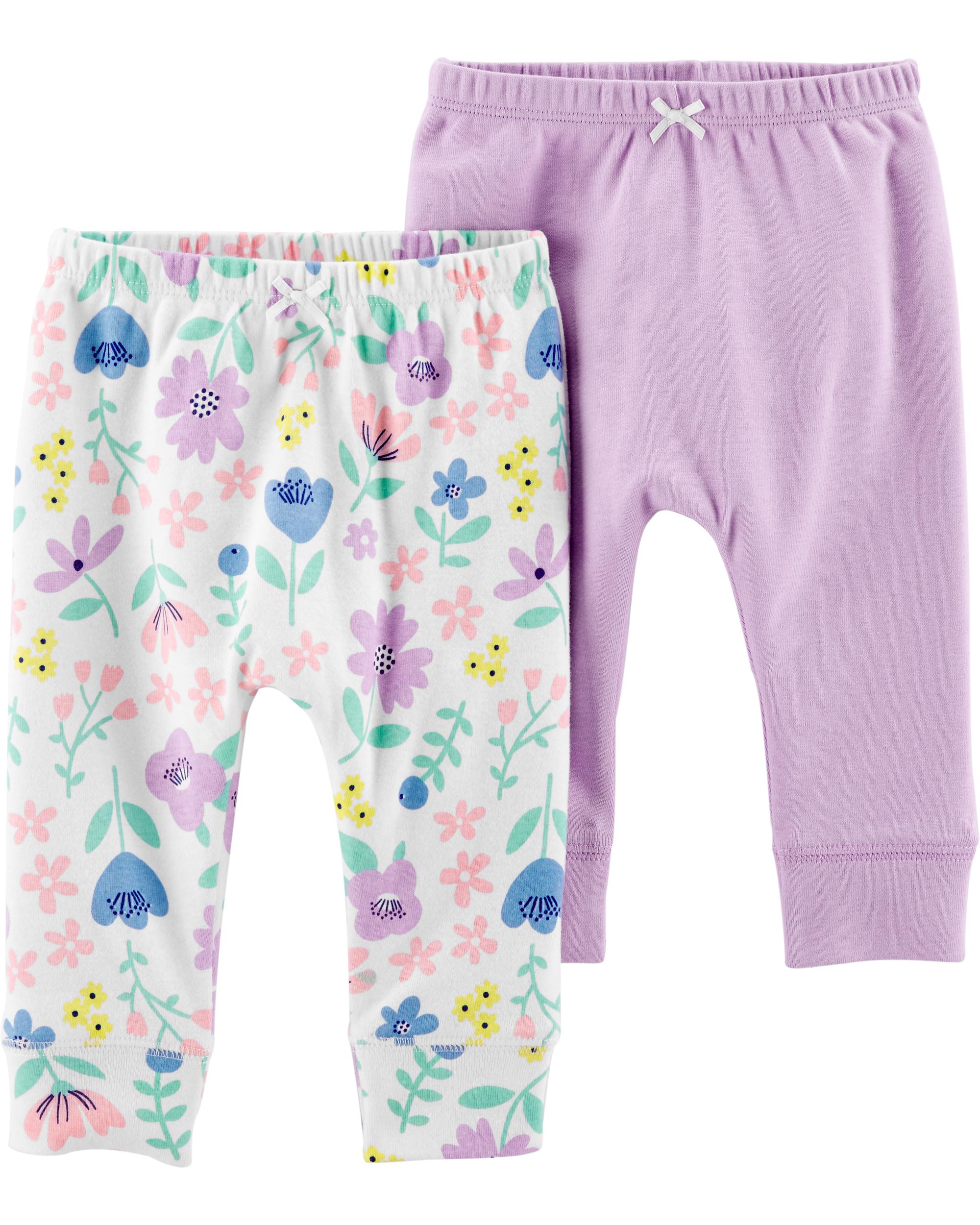 זוג מכנסיים פרחוני/סגול
