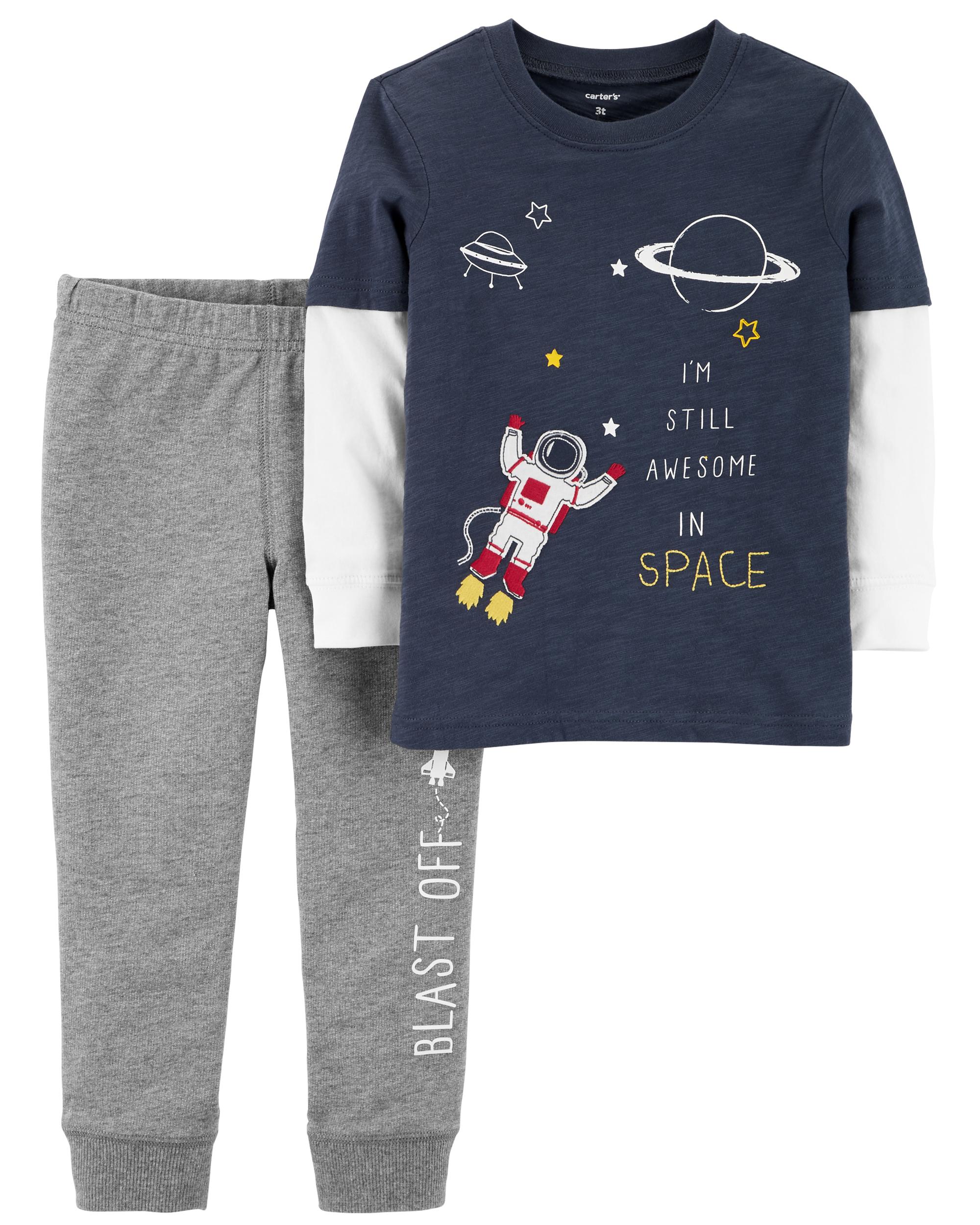 סט חולצה ומכנס אסטרונאוט