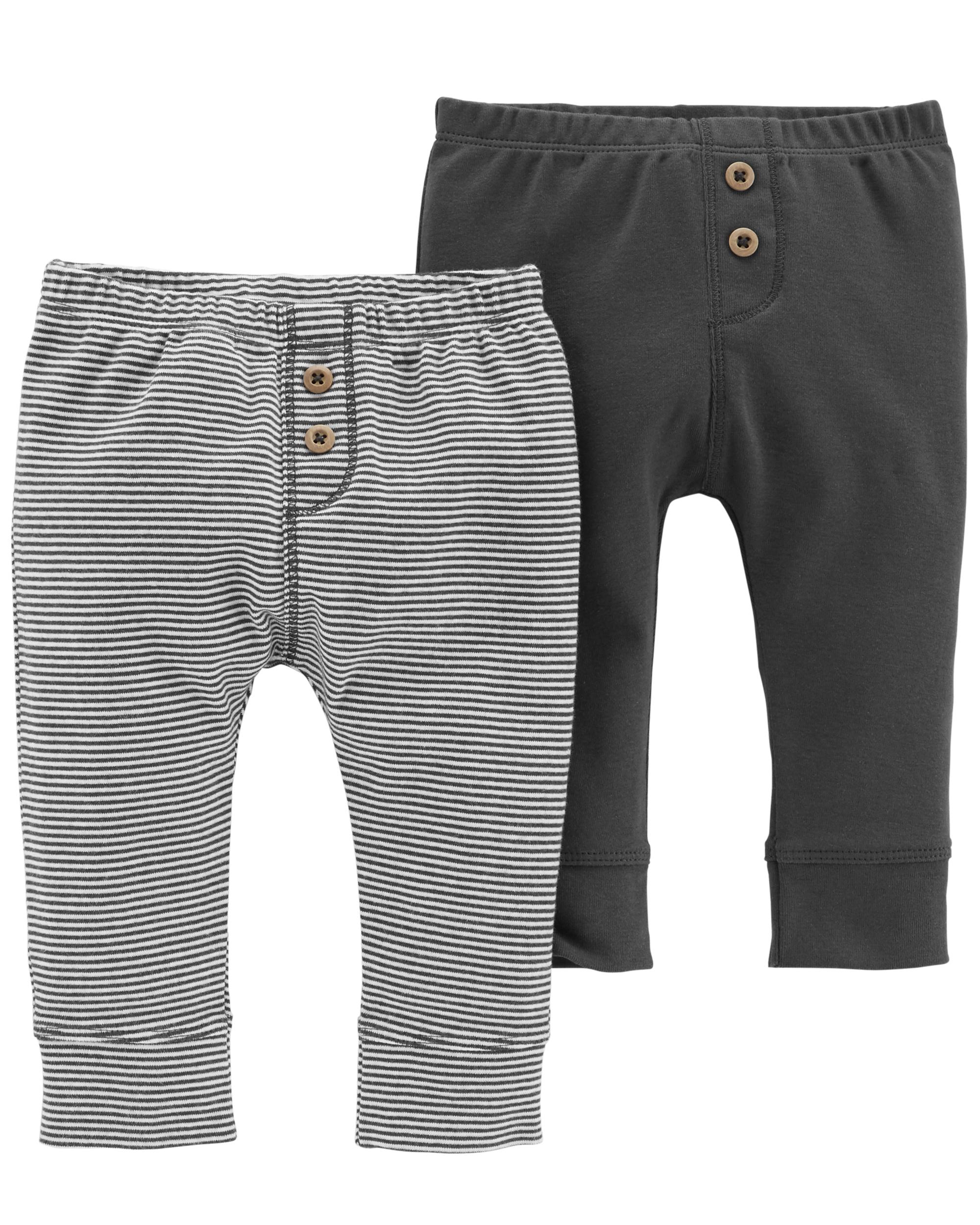 זוג מכנסיים כפתורים אפור/פסים