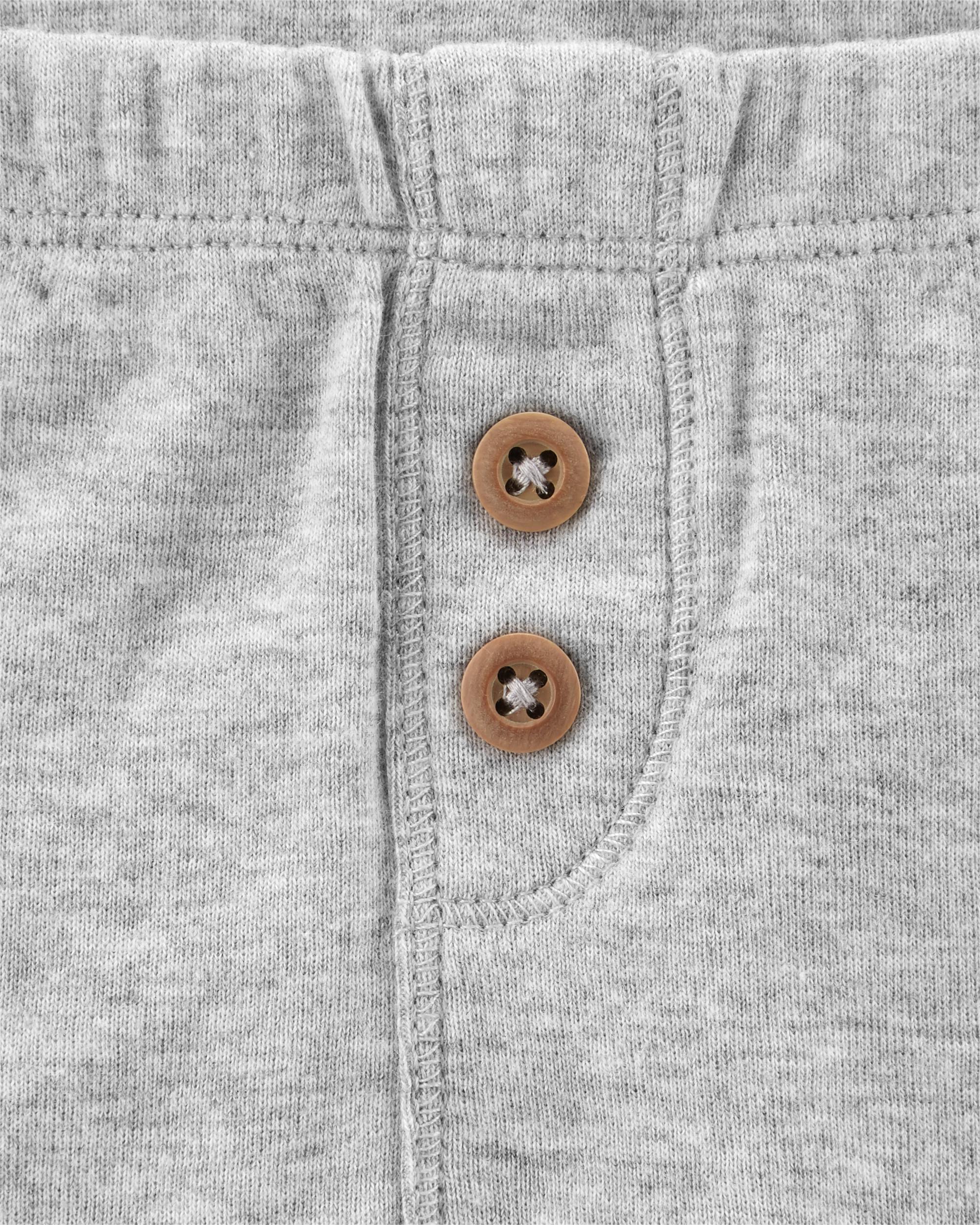 זוג מכנסיים כפתורים כחול/אפור