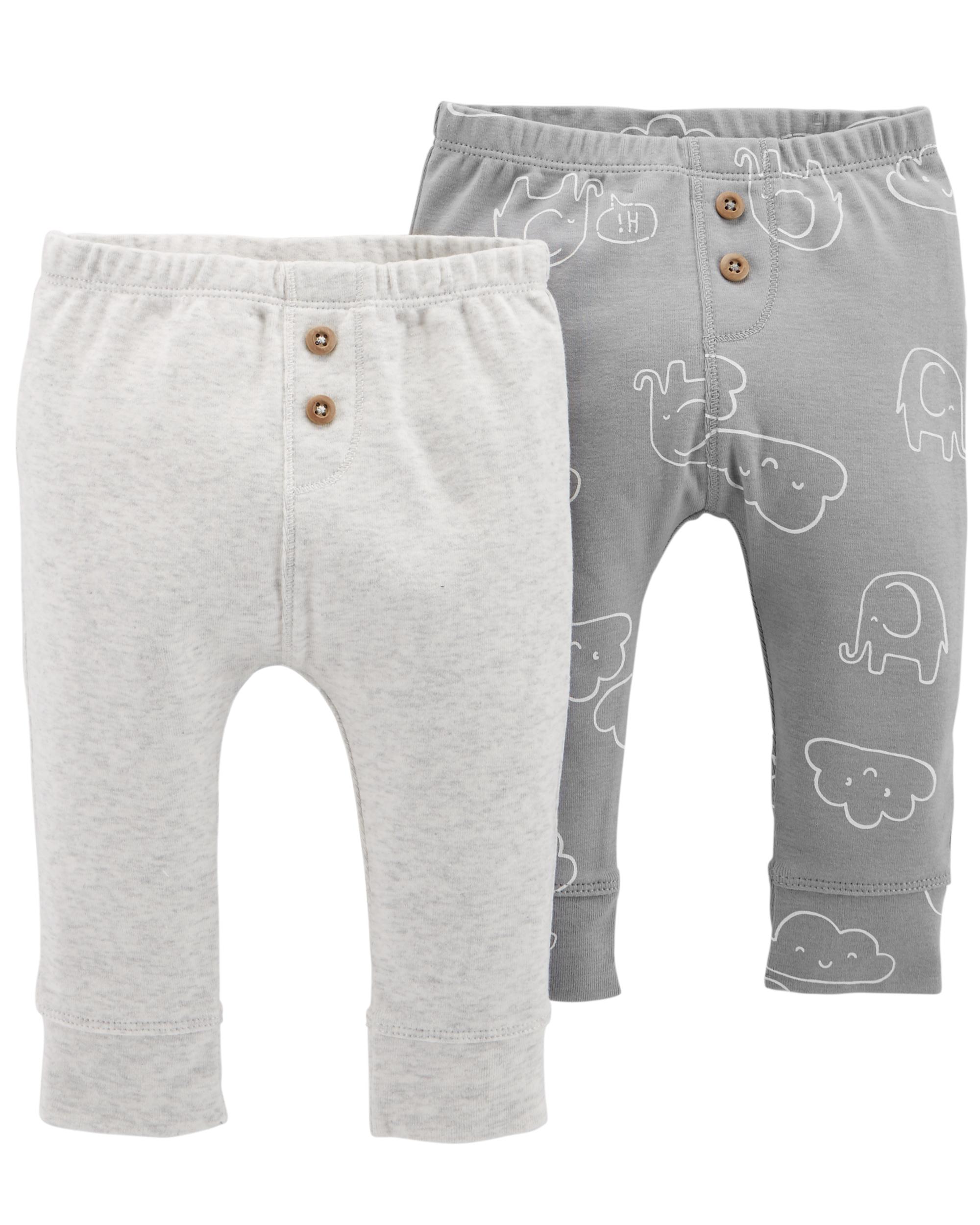 זוג מכנסיים כפתורים אפור/עננים