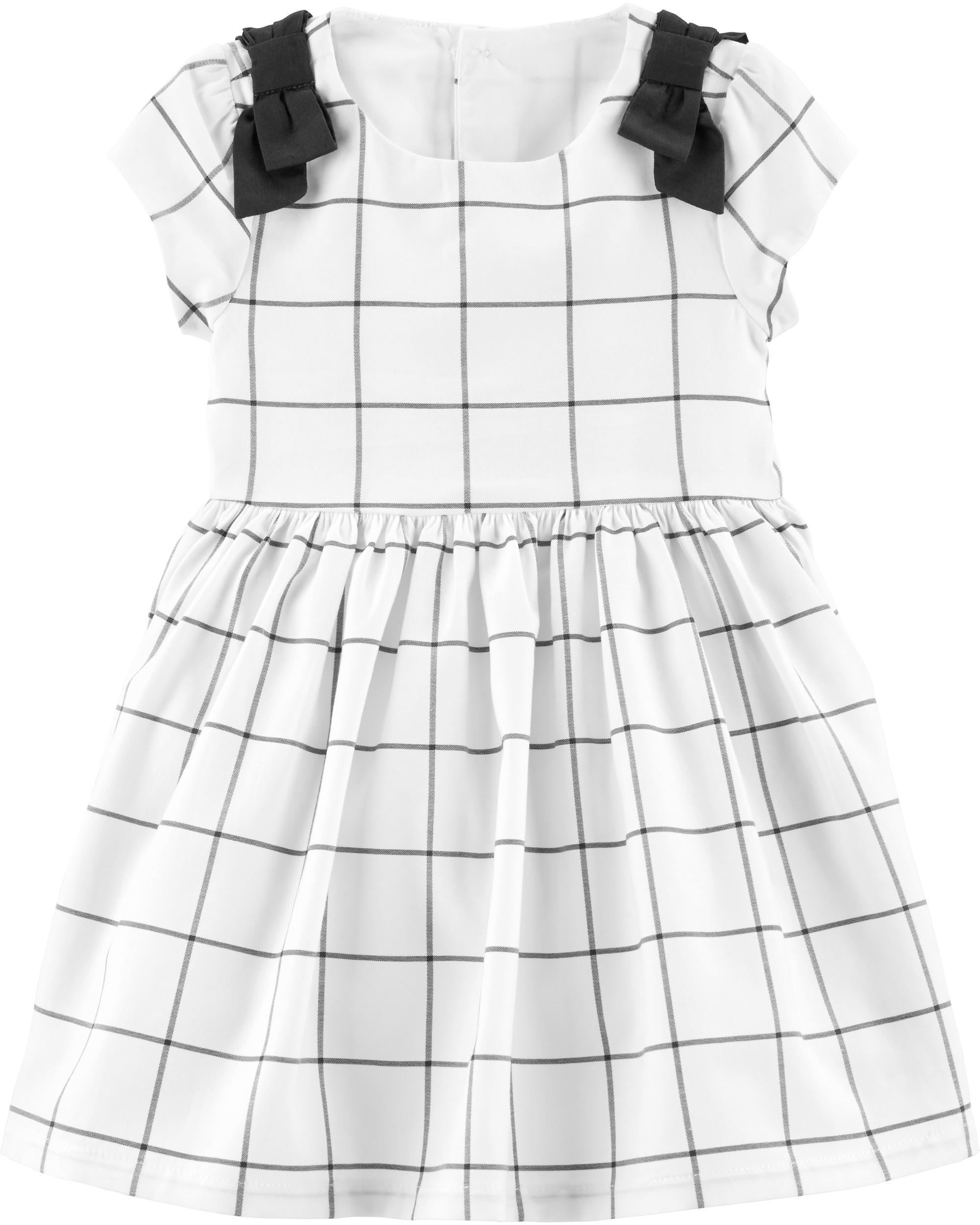 שמלת משבצות פפיון לבנה
