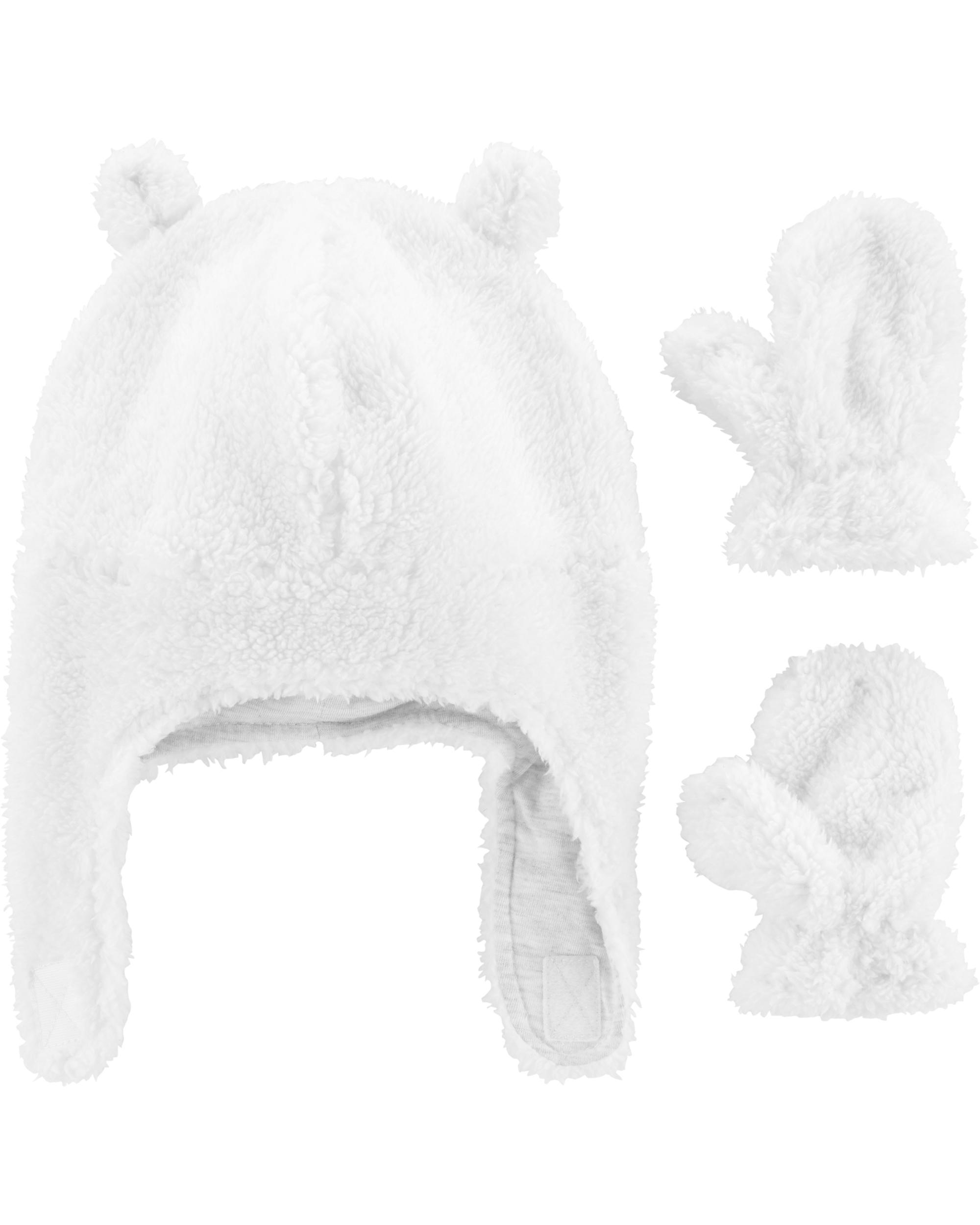 סט כובע וכפפות פרוותי לבן
