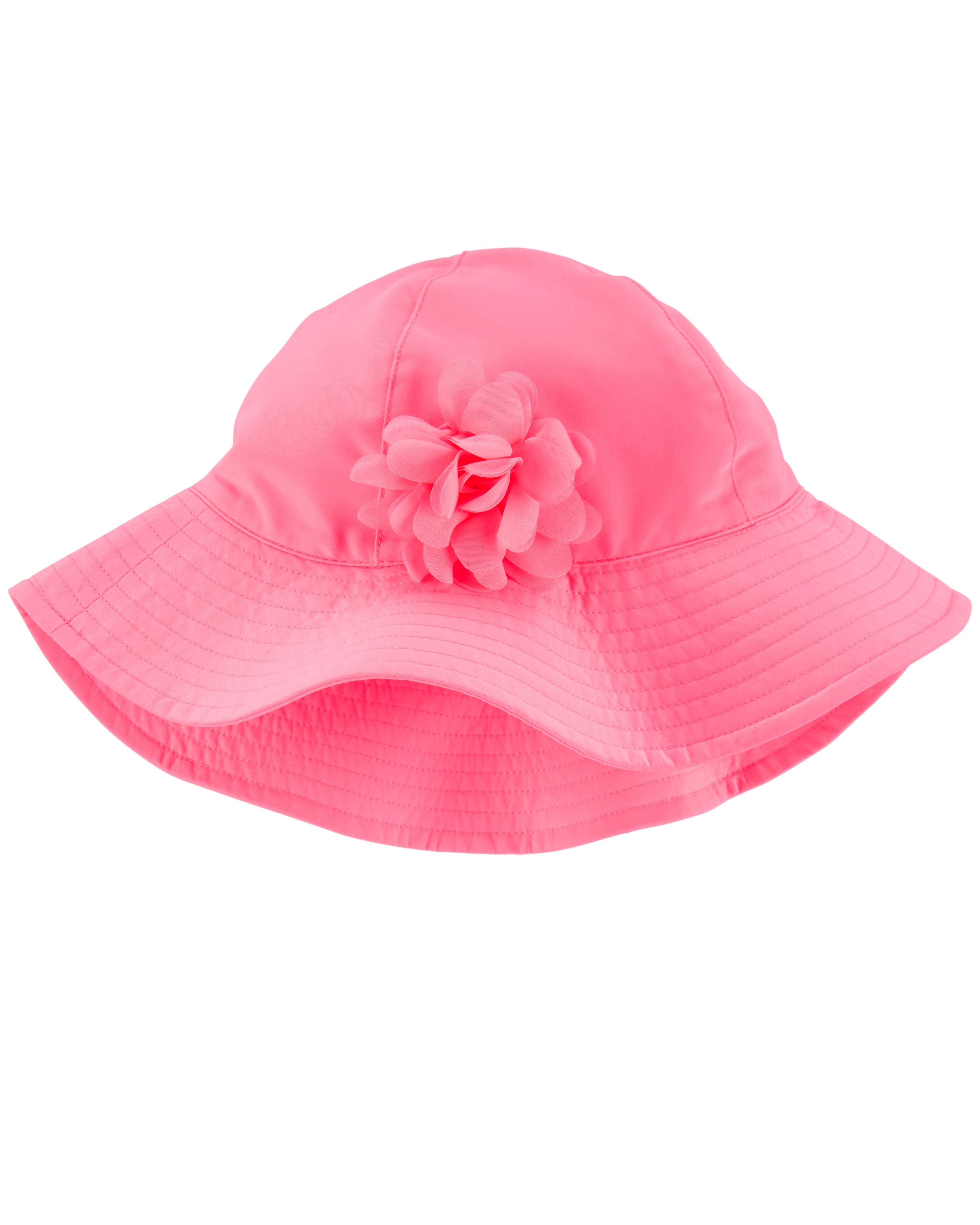 כובע רחב שוליים פרח ורוד