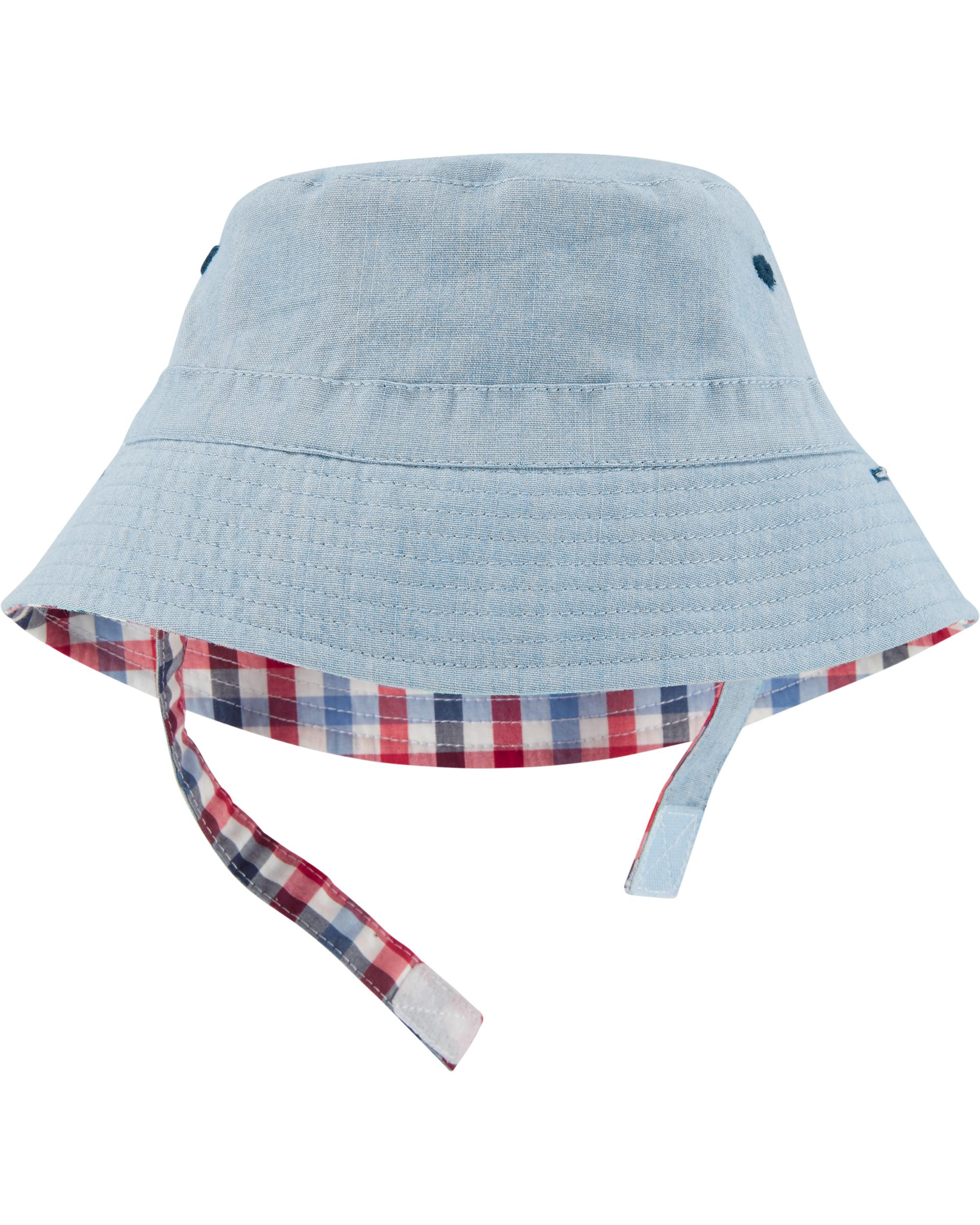 כובע  דו צדדי משובץ כחול