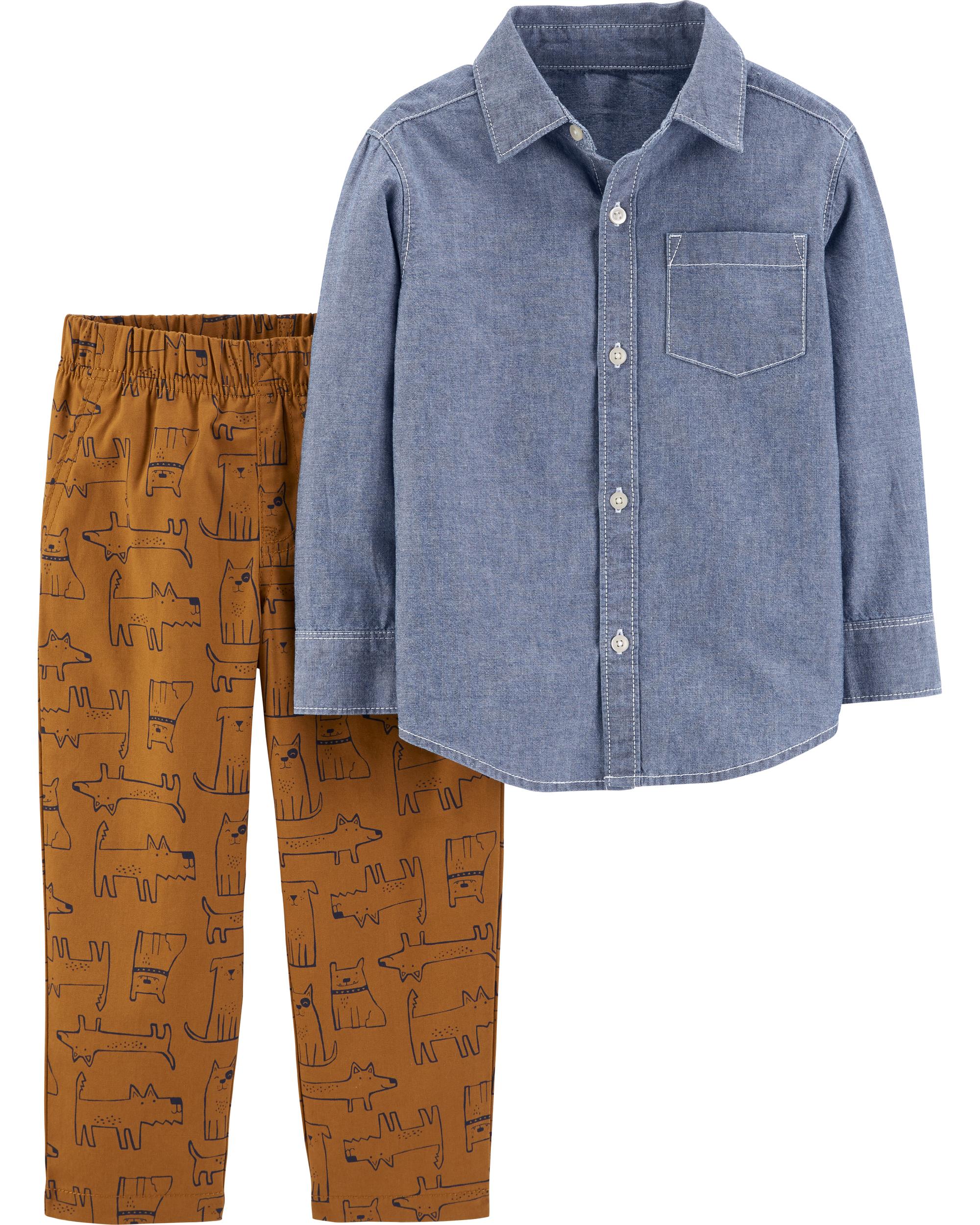 חולצת אריג מכופתרת ומכנס אריג