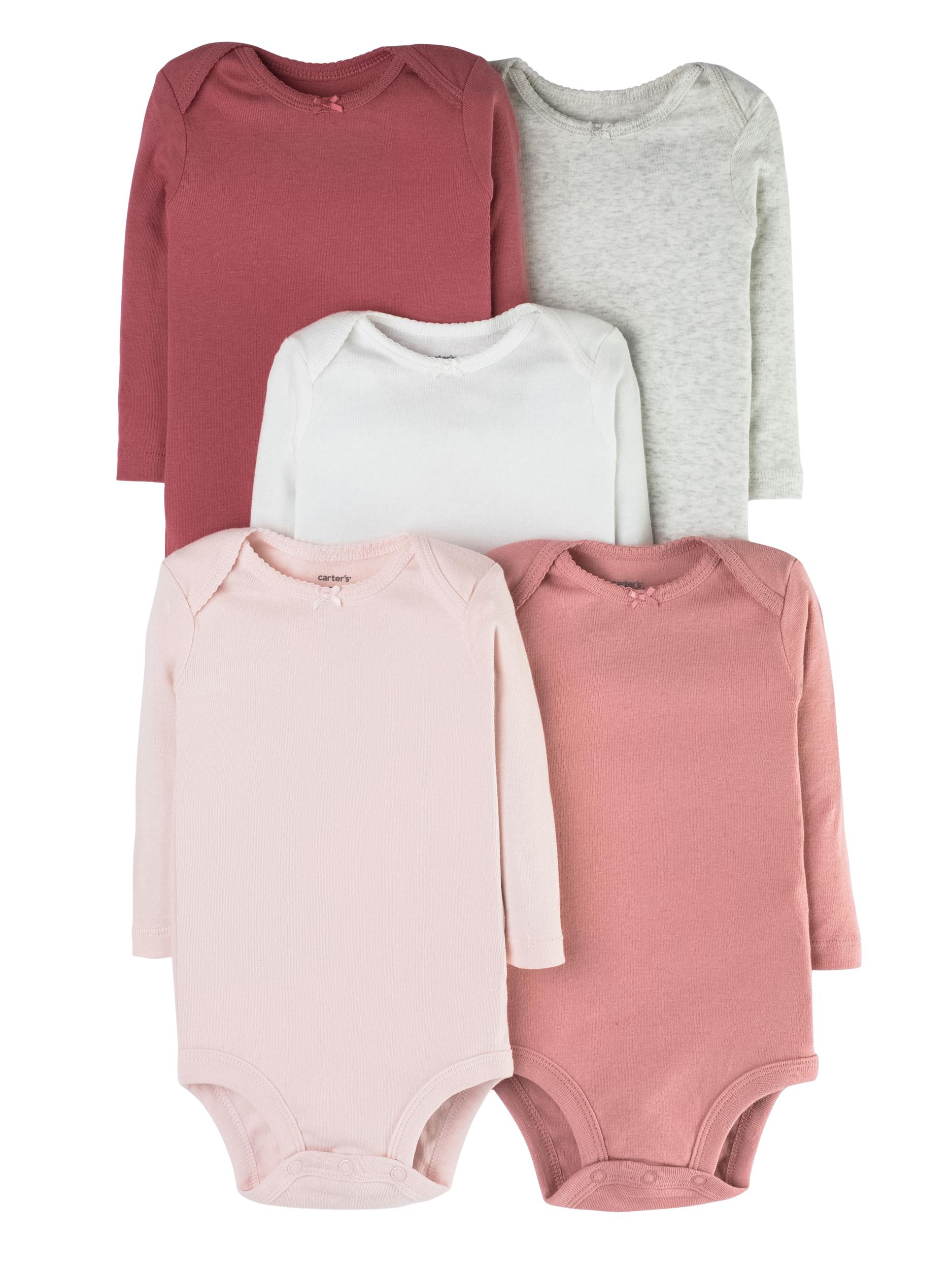 חמישיית בגדי גוף חלקים ורודים