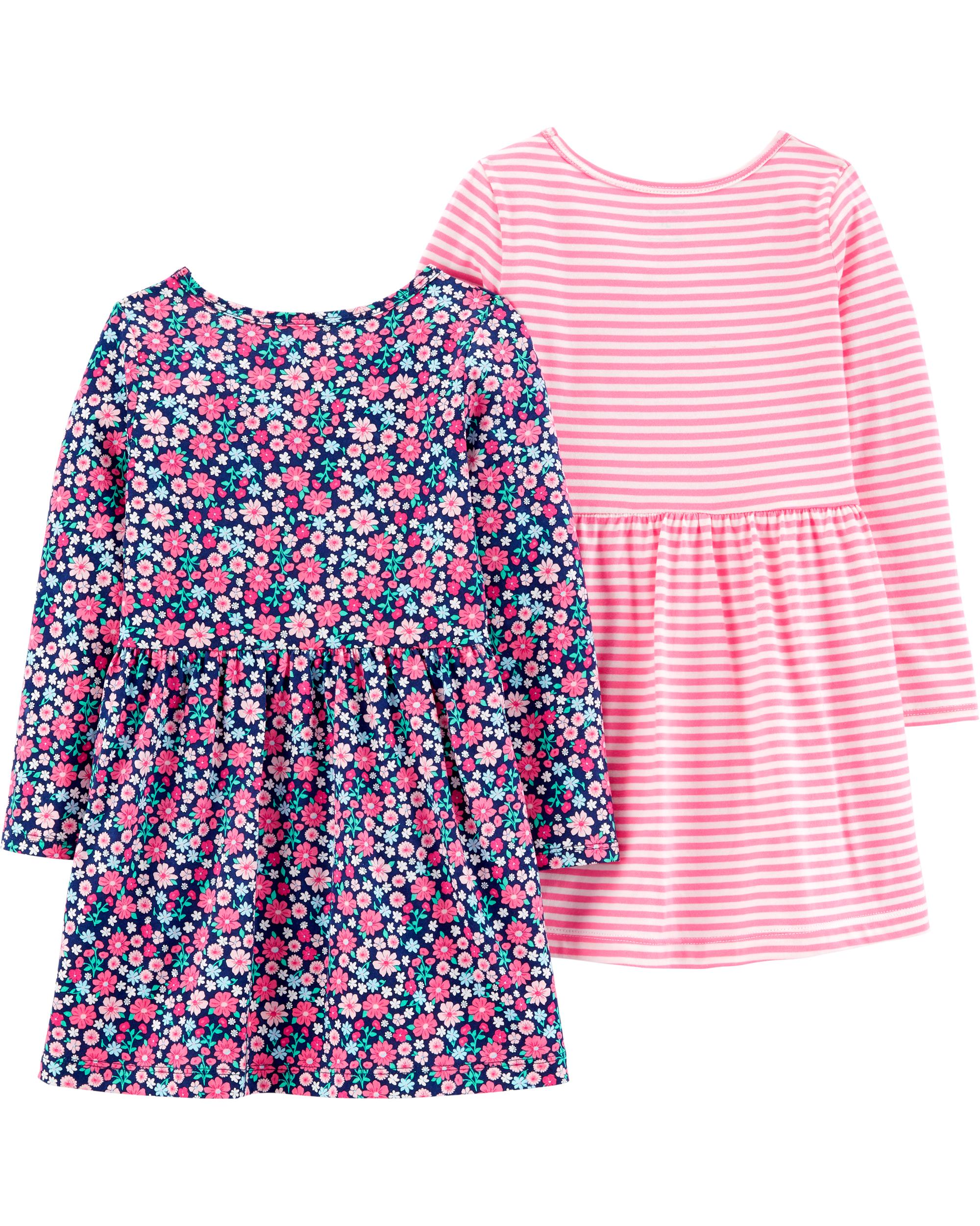 זוג שמלות פרחוני/פסים