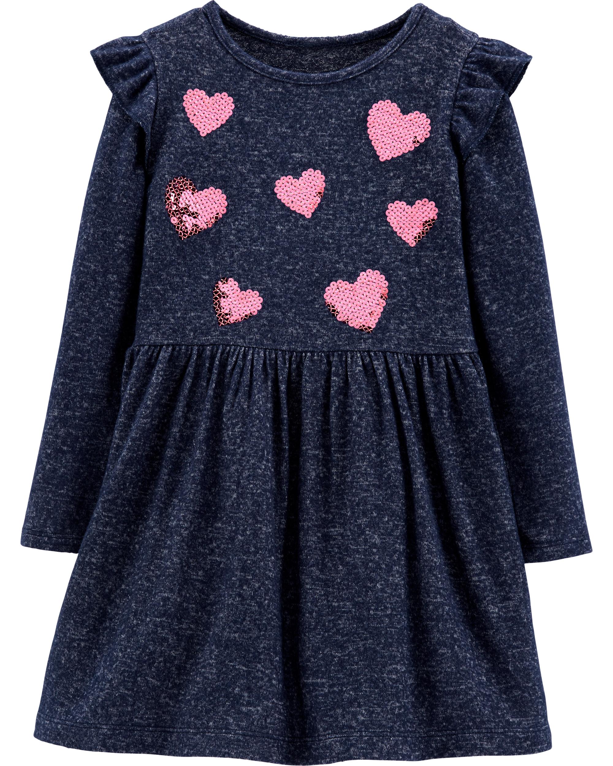 שמלת לבבות פייטים נייבי