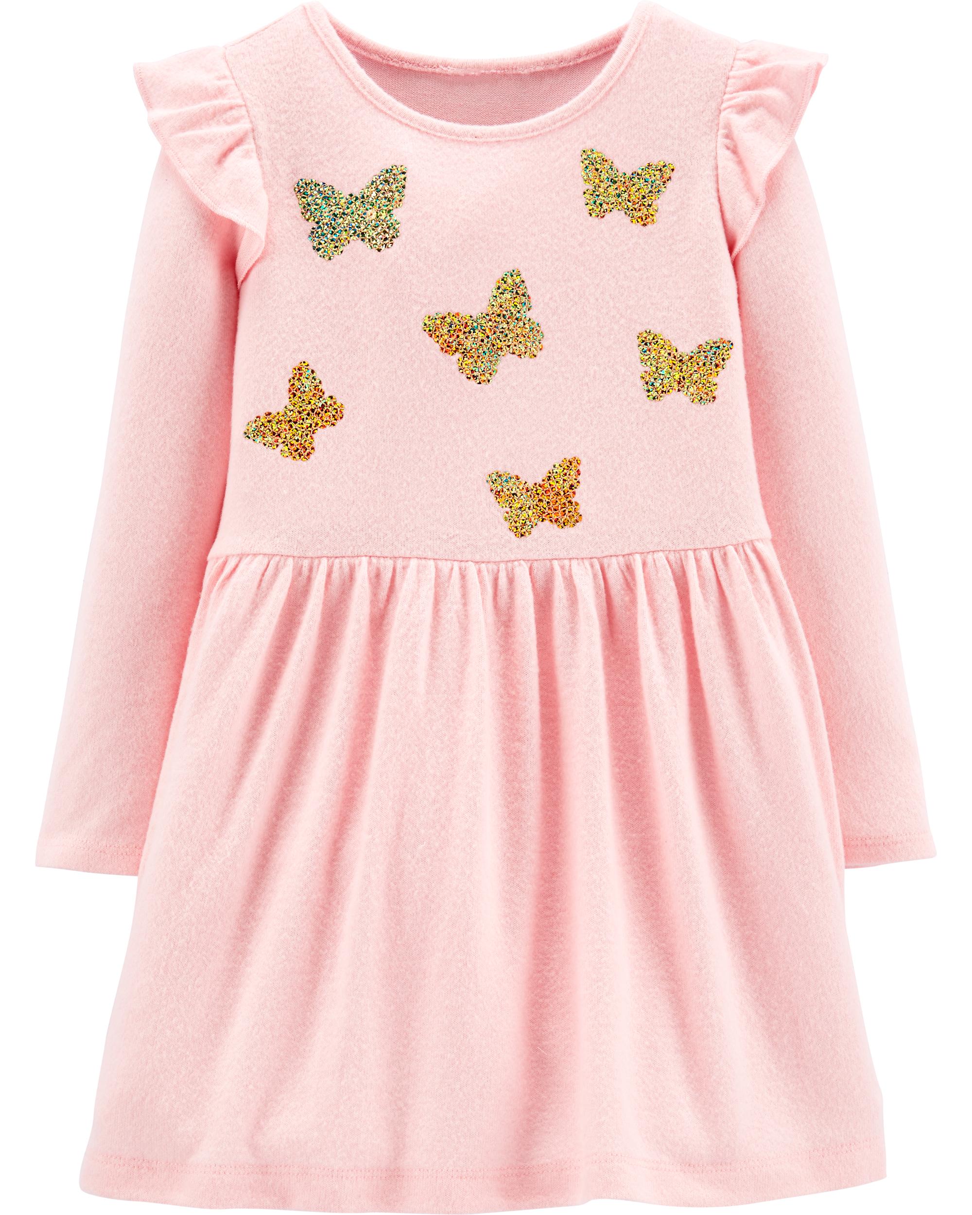 שמלת פרפרים פייטים ורוד
