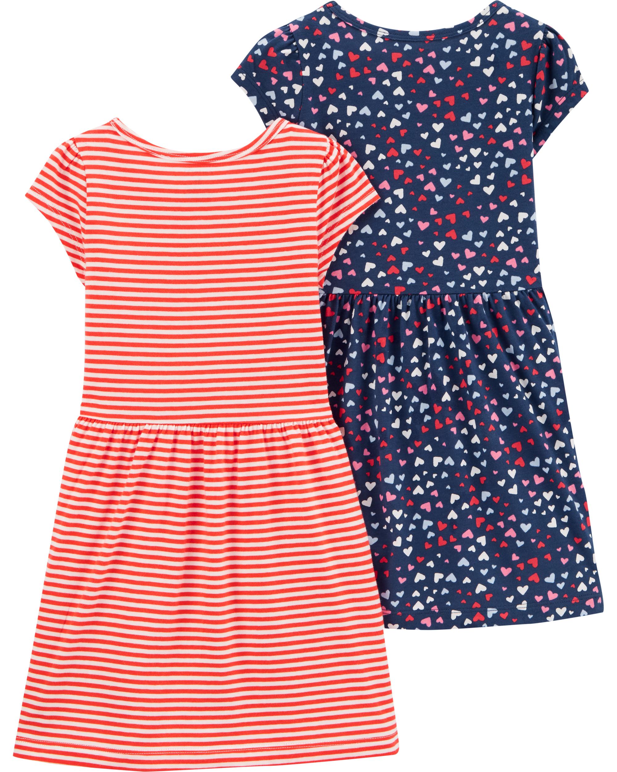 זוג שמלות מודפס/פסים