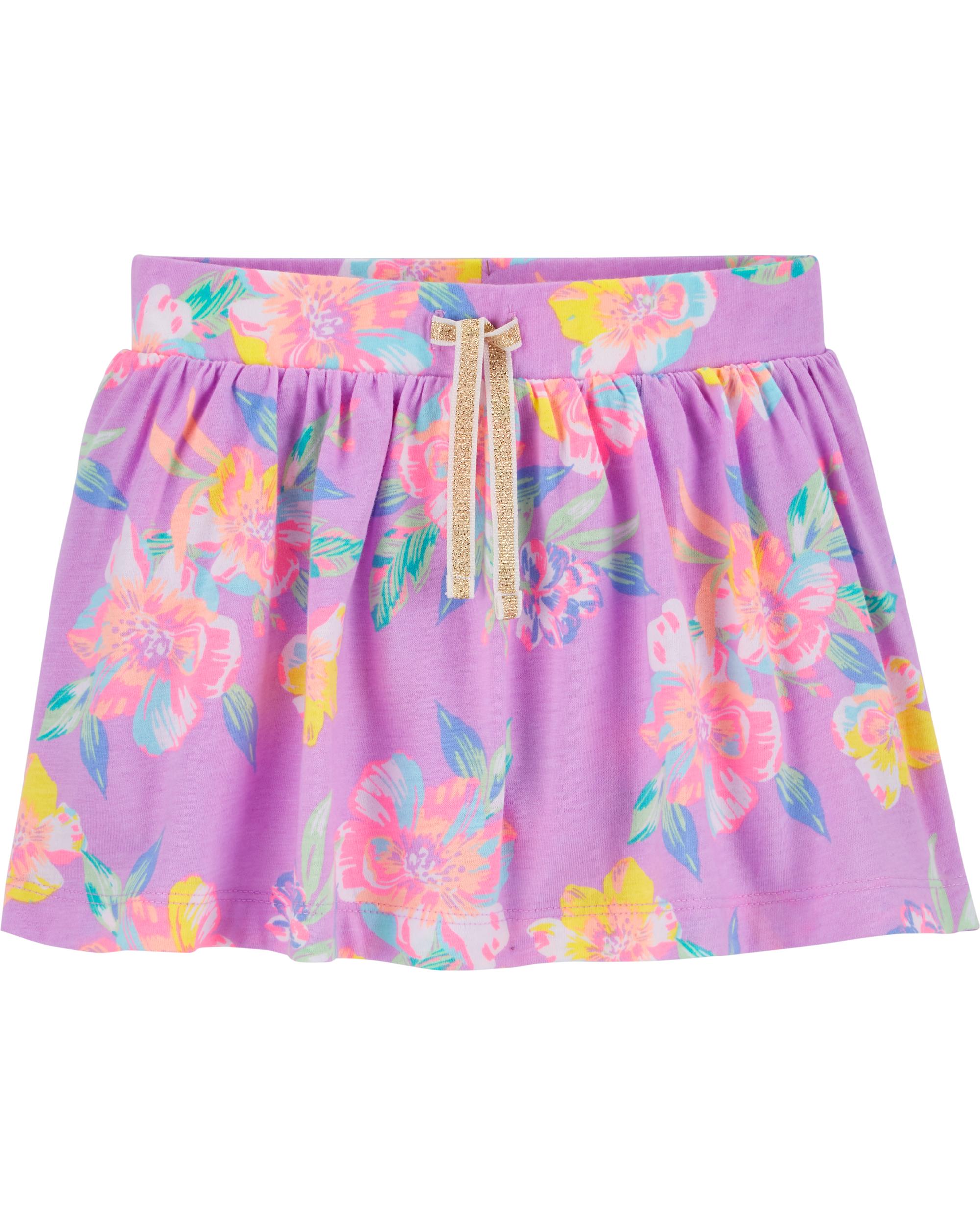חצאית פרחונית סגולה